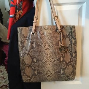 MICHAEL KORS SNAKESKIN PYTHON SHOPPER TOTE PURSE